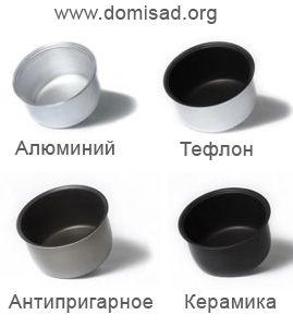 Чаші для мультіварок з різних матеріалів