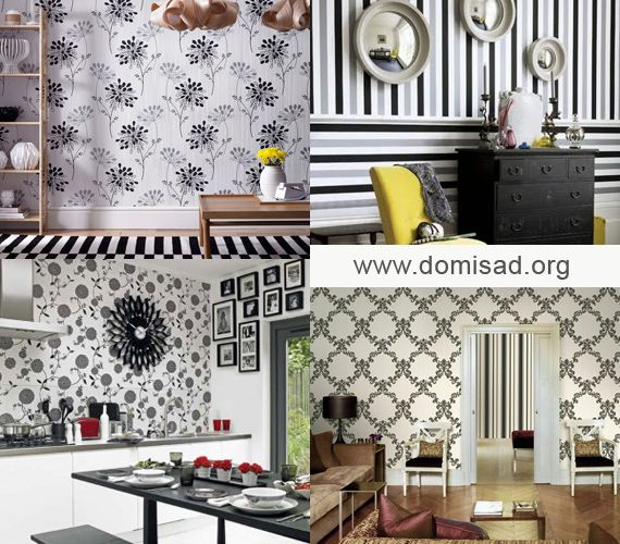 Чорно-білі шпалери для стін в дизайні інтер`єру квартири.