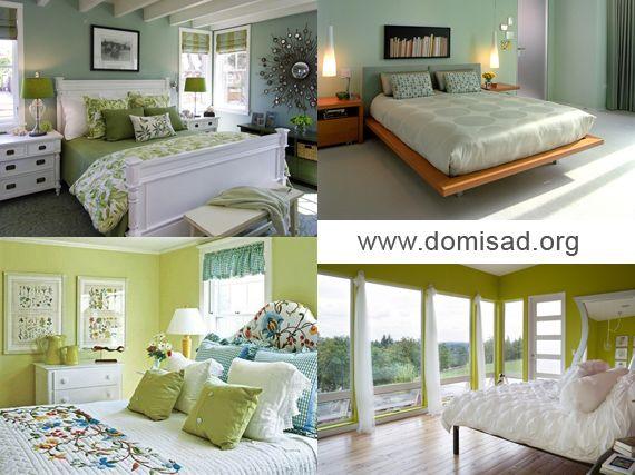 Дизайн інтер`єру спальної кімнати в зелених тонах.