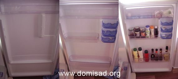 Продукти на полиці дверцята холодильника