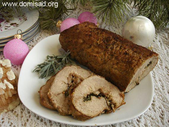 М`ясо на новий рік - ростбіф зі шпинатом і розмарином, рецепт з фото.