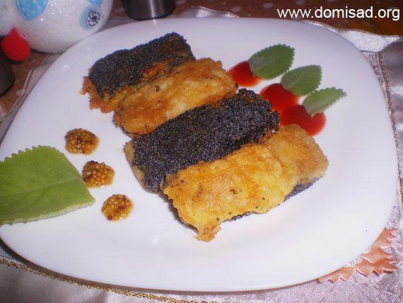 Риба морська мова «день і ніч» в клярі з маком (філе) - рецепт з фото.